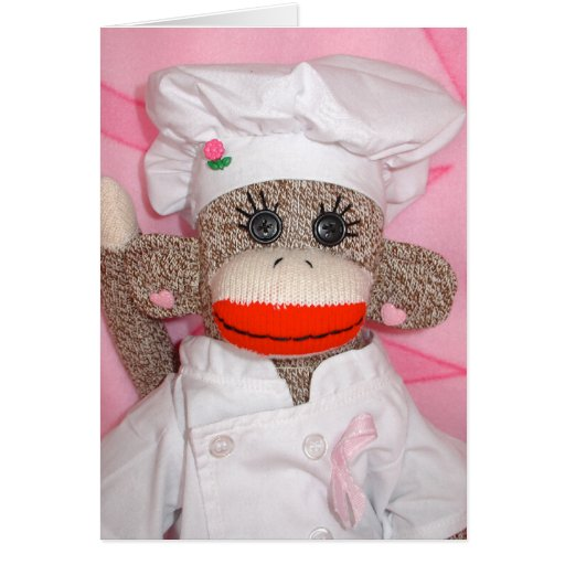 Monos del calcetín para la tarjeta subió cocinero