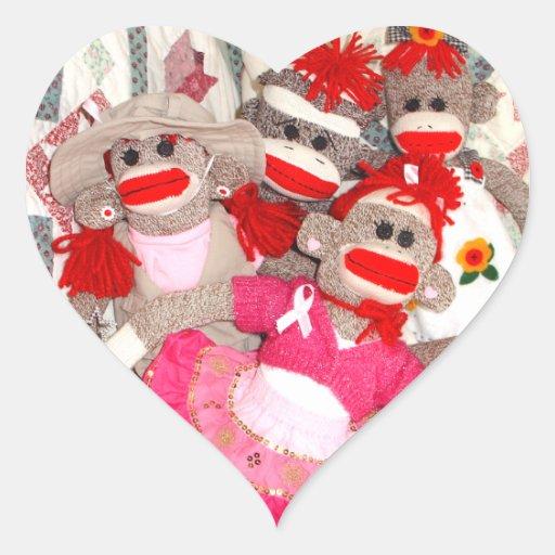 Monos del calcetín para los pegatinas del corazón pegatina en forma de corazón