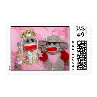 Monos del calcetín para los sellos del rosa de la