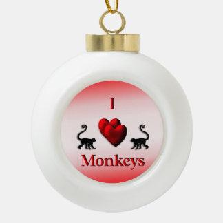 Monos del corazón del rojo I Adorno De Cerámica En Forma De Bola