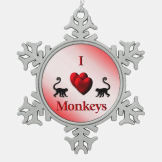 Monos del corazón del rojo I Adorno De Peltre En Forma De Copo De Nieve