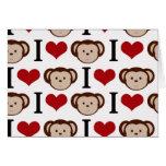 Monos del corazón I en un fondo blanco Felicitaciones