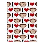 Monos del corazón I en un fondo blanco Tarjetas Postales
