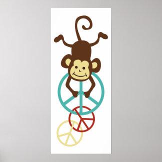Monos del signo de la paz póster