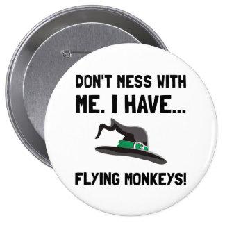 Monos del vuelo pin redondo 10 cm