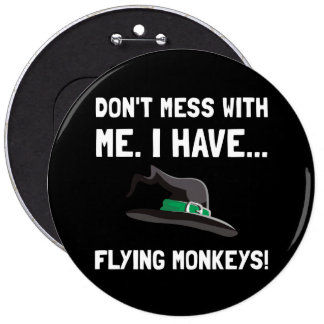 Monos del vuelo pin redondo 15 cm