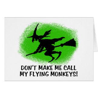 Monos del vuelo tarjeta de felicitación
