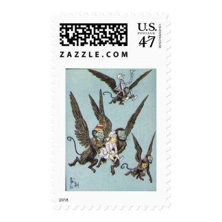 Monos del vuelo timbre postal