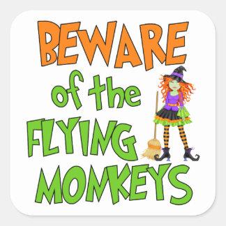 Monos divertidos del vuelo de Halloween Pegatina Cuadrada