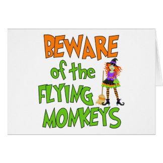 Monos divertidos del vuelo de Halloween Tarjeta De Felicitación