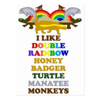 Monos dobles del manatee de la tortuga del tejón postal