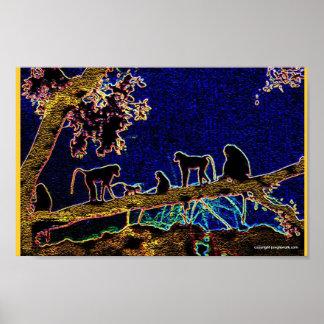 Monos en árbol póster