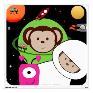 Monos en etiqueta de la pared del planeta de los e