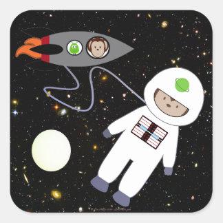 Monos en extranjeros del paseo del espacio pegatina cuadrada