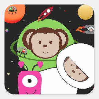 Monos en planeta de los extranjeros de espacio pegatina cuadrada
