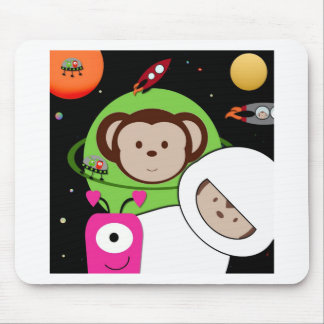 Monos en planeta de los extranjeros de espacio alfombrillas de raton