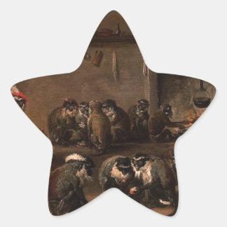 Monos en una cocina de David Teniers el más joven Pegatina En Forma De Estrella