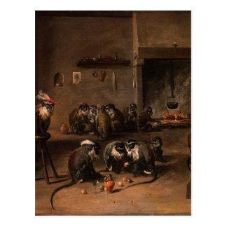 Monos en una cocina de David Teniers el más joven Tarjeta Postal