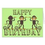 Monos felices del baile, cumpleaños tarjeton