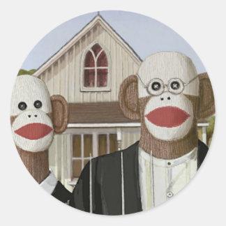 Monos góticos americanos del calcetín pegatina redonda