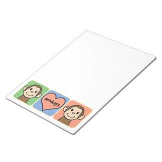 Monos lindos del clip art del dibujo animado con blocs