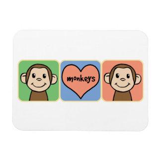 Monos lindos del clip art del dibujo animado con imán foto rectangular