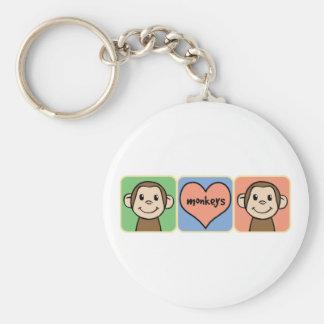 Monos lindos del clip art del dibujo animado con llavero redondo tipo pin
