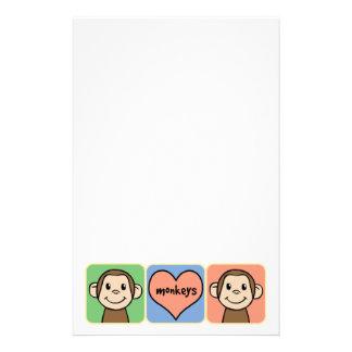 Monos lindos del clip art del dibujo animado con papelería personalizada