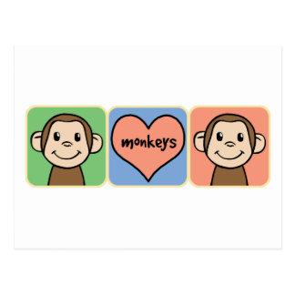 Monos lindos del clip art del dibujo animado con postales