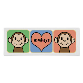 Monos lindos del clip art del dibujo animado con póster