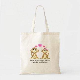 Monos lindos - el amor verdadero viene adelante un bolsa tela barata
