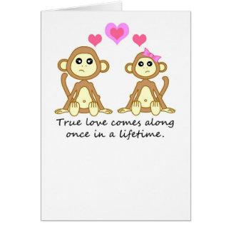 Monos lindos - el amor verdadero viene adelante un tarjeta de felicitación
