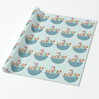 Monos lindos en papel de embalaje del barco pirata papel de regalo
