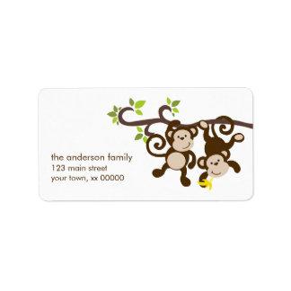 Monos lindos etiquetas de dirección