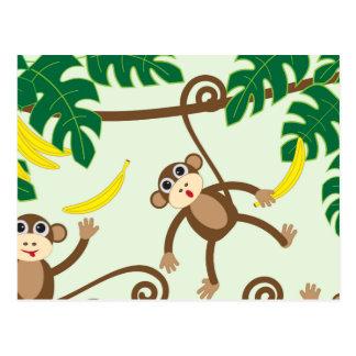 Monos que cuelgan hacia fuera postal