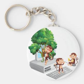 Monos que juegan y que comen en la pantalla de llavero redondo tipo pin