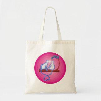 Monos que se besan lindos bolsa lienzo
