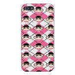 Monos rosados del calcetín en el diamante blanco iPhone 5 fundas