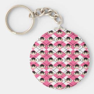 Monos rosados del calcetín en el diamante blanco llavero redondo tipo pin