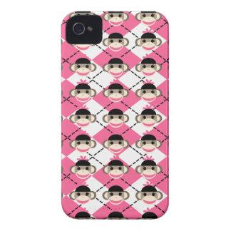 Monos rosados del calcetín en el diamante blanco r Case-Mate iPhone 4 carcasas