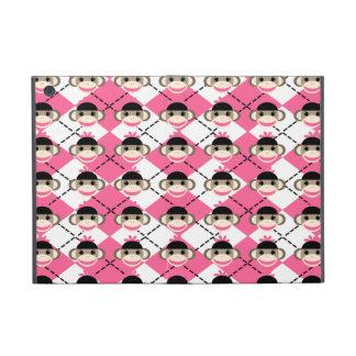 Monos rosados del calcetín en el diamante blanco r iPad mini cárcasa