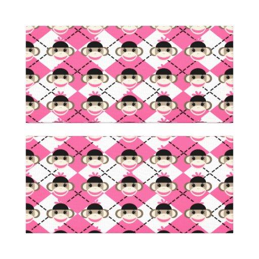 Monos rosados del calcetín en el diamante blanco r lona estirada galerias