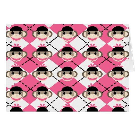 Monos rosados del calcetín en el diamante blanco tarjeta pequeña