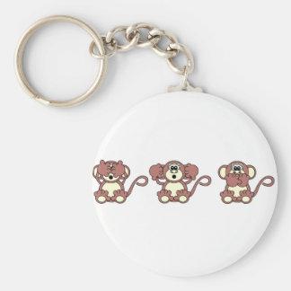 monos sabios llavero redondo tipo pin