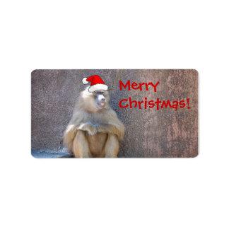 Monos y babuinos del navidad etiquetas de dirección