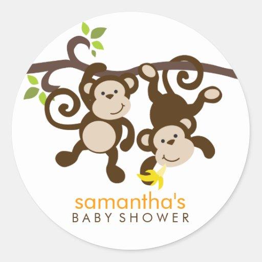 Monos y lunares etiqueta redonda