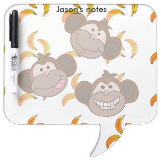 Monos y plátanos felices del personalizado tres tableros blancos