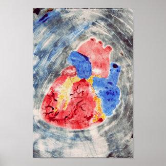 Monotipo anatómico del corazón póster
