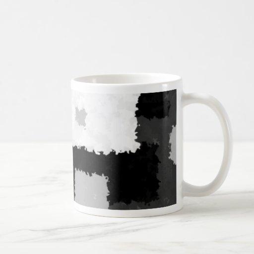 Monótono en gris, negro y blanco taza de café