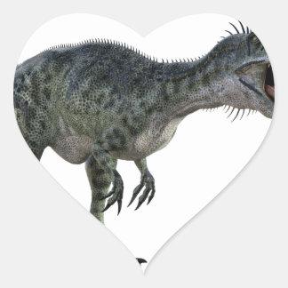 Monotophosaurus Bending Over and Roaring Heart Sticker